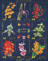 Орхидеи, 3 выпуск, М/Л из 8м и купона; 10.0 руб х 8