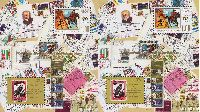 300 лет Петербурга, Надпечатки на № 465 (10-летие Первым почтовым маркам Абхазии), 2 блока из 2м; 1.0, 32.0 руб х 2