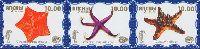 Фауна моря, 2 выпуск, Морские звезды, голубой фон, 3м в сцепке; 10.0 руб х 3