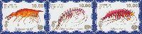 Фауна моря, 4 выпуск, Морские раки, синий фон, 3м в сцепке; 10.0 руб х 3