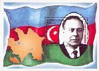 Президент Алиев на фоне флага, блок; 150 M