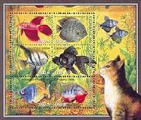 Аквариумные рыбки, блок из 6м; 1000 M x 6