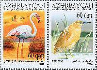 Совместный выпуск Азербайджан-Казахстан, Птицы Каспия, 2м в сцепке; 60г x 2