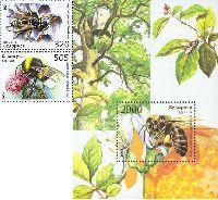 Фауна, Пчелы, Осы, Шмели, 2м + блок; 320, 505, 2000 руб