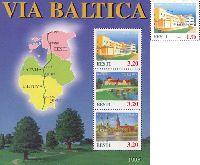 VIA BALTICA, 1v + Block of 3v; 1.7, 3.2 Kr x 3
