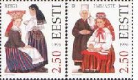 Folk costumes Reigi and Emmaste, 2v; 2.50 Kr x 2