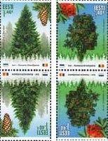 Совместный выпуск Эстония-Румыния, Лес, тет-беши, 4м; 1.40 Евро х 4