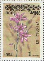 Надпечатка черного цвета нового номинала на № 019 (Цветы, 1т), перевернутая, 1м; 36т