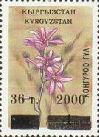 Надпечатка лилового цвета нового номинала на № 019 (Цветы, 1т), Типографская проба, тип 1, 1м; 36т