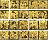 Военные и политические деятели периода Второй Мировой войны, 20м на золотой фольге; 5.0 C x 3, 10.0 C x 13, 15.0 C x 4