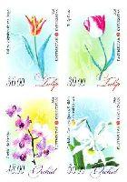 Флора, Тюльпаны и Орхидеи, 4м беззубцовые; 36, 39, 48, 55 С