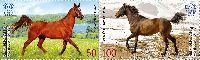 Совместный выпуск Кыргызстан-Беларусь, Лошади, 2м в сцепке; 50.0, 100.0 С
