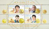 Спортсмены Казахстанa - Победители Олимпиад, блок из 4м; 100 T x 4