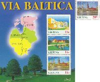 Lithuania-Latvia-Estonia joint issue, Baltic Way, 1v + Block of 3v; 20ct, 1 Lt x 3