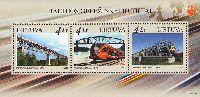 Совместный выпуск Литва-Эстония-Латвия, Железнодорожные мосты, блок из 3м; 4.0 Лита х 3