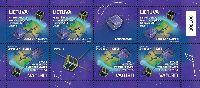 Первые литовские космические спутники, М/Л из 6м и 2 купонов; 2.90 Литa х 6