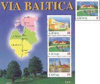 Совместный выпуск Латвия-Литва-Эстония, Балтийский путь, 1м + блок из 3м; 8с, 18с x 3