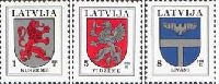 Definitives, Kurzeme, Vidzeme, Livani's Coats of Arms, 3v; 1, 5, 8s