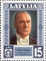 Президент Латвии А.Квийсис, 1м; 15c