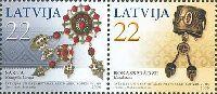 Совместный выпуск Латвия-Казахстан, Женские украшения, 2м в сцепке; 22с x 2