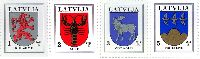 Стандарты, гербы Курземе, Ауце, Земгале, Смилтене, 4м; 1, 2, 3, 5с