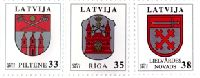 Стандарты, гербы Пилтене, Риги, Лиелварде, 3м; 33, 35, 38с