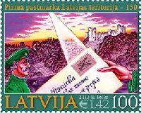 150 лет первой латвийской почтовой марки, 1м; 100с
