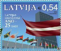 Латвия - член ООН, 1м; 0.54 Евро