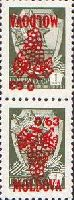 "Overprints ""Bunch"" on definitives of USSR, red, tete-beche pair, 2v; 0.63 R x 2"