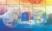 10-летие молдавского паспорта, блок из 3м; 0.40, 1.50, 4.40 Лей