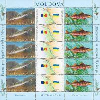 Совместный выпуск Молдова-Украина, Фауна, Рыбы, М/Л из 5 серий