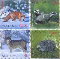 Фауна Молдовы, 4м; 0.85, 1.20, 3.0, 4.20 Лей