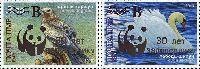 30 лет заповеднику Ягорлык, Серебряная надпечатка на № 205 (Птицы), 2м; 2,70, 5,25 руб